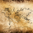 Cracked ancient map of world. — Stock fotografie