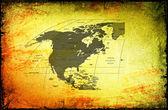 古代背景上的美国、 加拿大、 墨西哥地图. — 图库照片