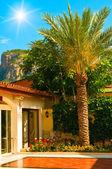 Bonito cielo azul, sol, palmeras y casa de la diversión. — Foto de Stock