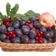 Beautiful fruits in the wooden basket. — Stock Photo