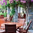 Stockfoto: Wooden chairs and table in resort Ora. Turkey.