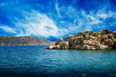 Blue sky with clouds,peninsula and wonderful sea. — Stock Photo