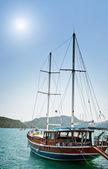 Bay in mediterranean sea with yachts in the Kekova. Turkey. — Stock Photo