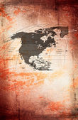North America at the grunge background. — Stock Photo