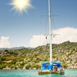 Wooden yacht in the bay. Turkey. Kekova. — Stock Photo