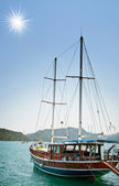 Wonderful yachts in the bay. Turkey. Kekova. — Stock Photo