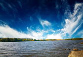 Amazing autumnal pond. — Stock Photo
