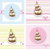 Cards set with holiday cake — Stock Vector