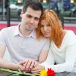 Happy young couple in a cafe — Stock Photo #5997970