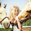 Beautiful woman with horse — Stock Photo #6305771