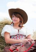 Menina bonita no estilo do país — Foto Stock