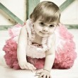 Elegant little girl in a bright pink dress — Stock Photo