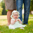 Cheerful baby girl is playing on the grass — Stock Photo #6559266