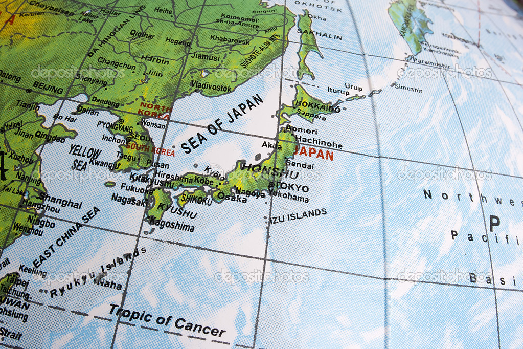 Close-up photograph of Japan on a globe. — Stock Photo #5396924