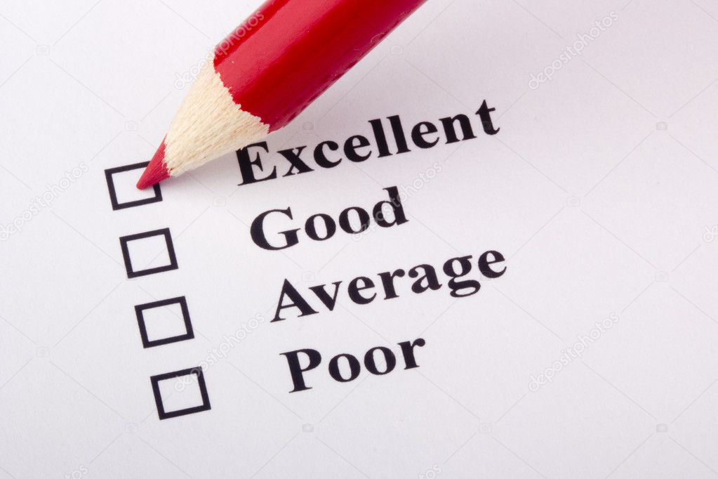 A red pencil laying on a customer service survey. — Stock Photo #5431243