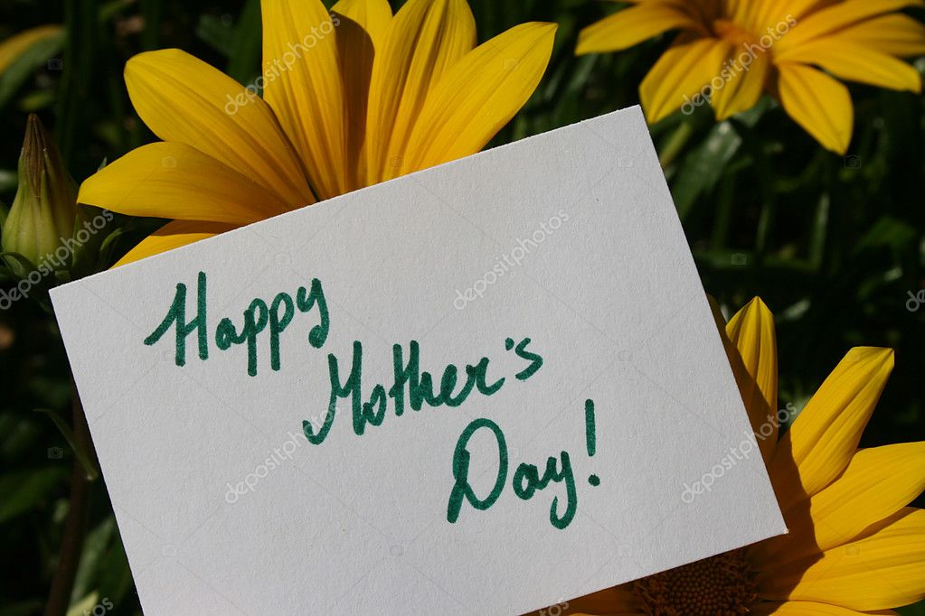 Flowers with a Happy Mothers Day text on a white paper sign.  Stock Photo #5453209