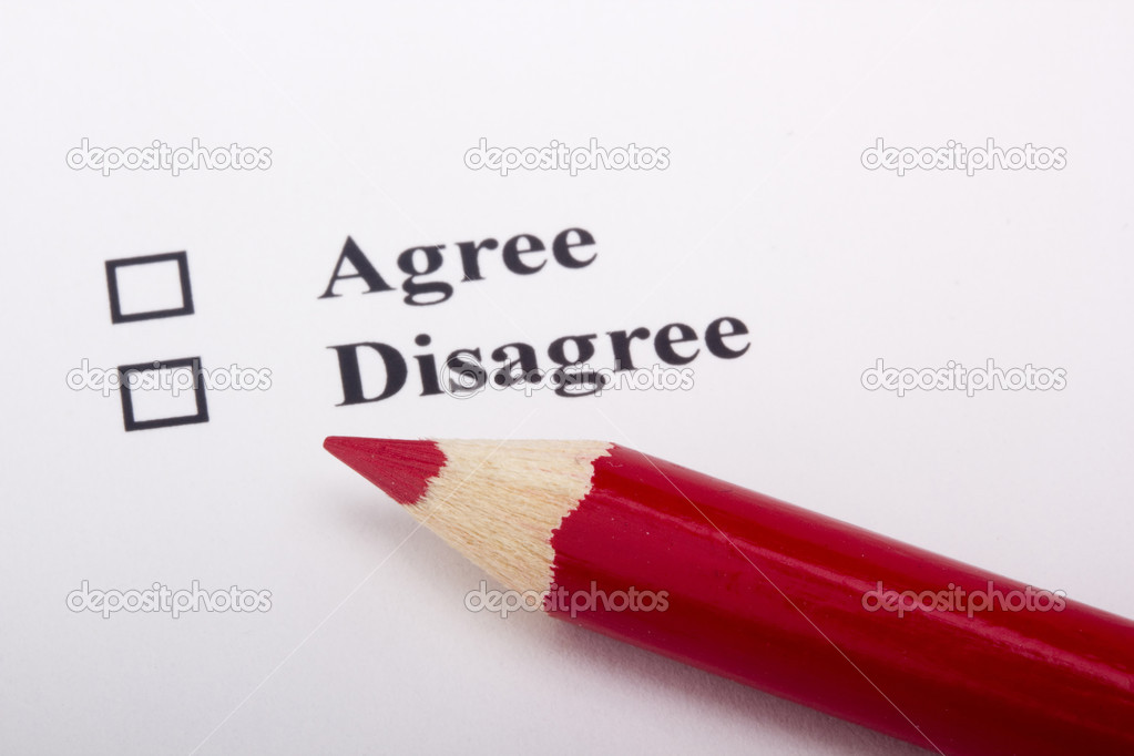 A red pencil laying on an opinion poll.  Stock Photo #5460535