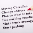 moving checklist — Stock Photo