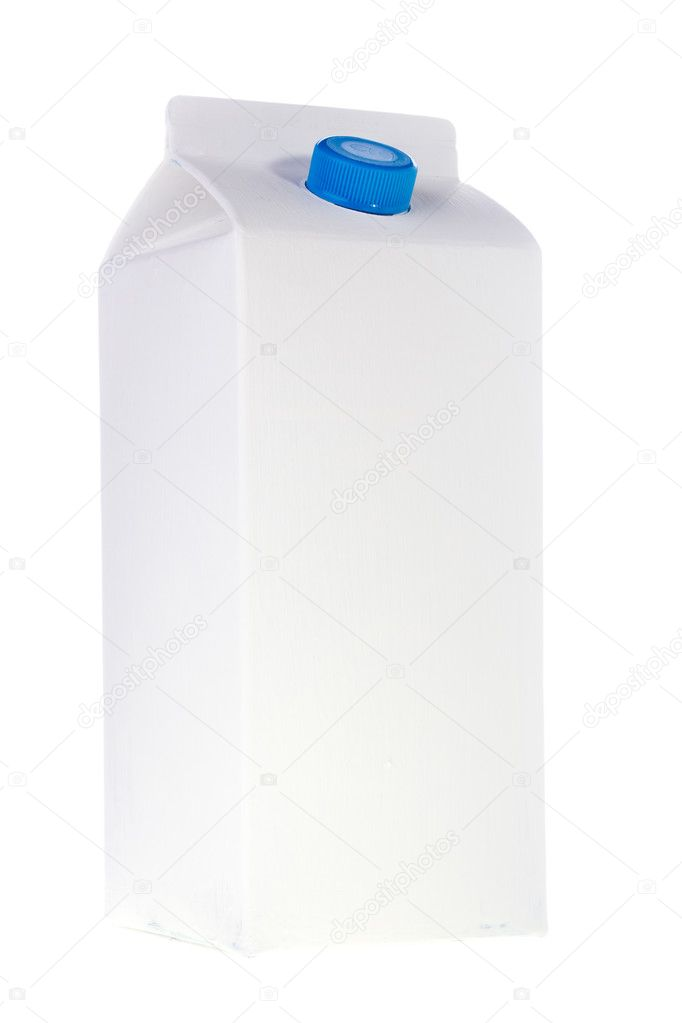 White milk or juice carton box isolated on a white background.  Foto Stock #5578613