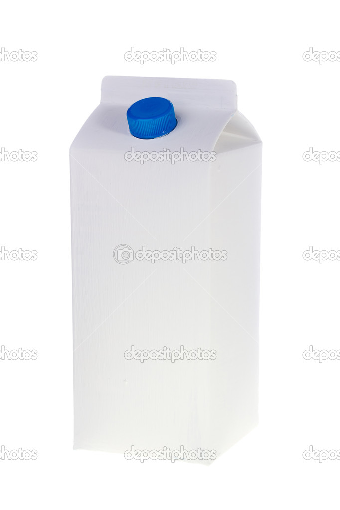 White milk or juice carton box isolated on a white background. — Stock Photo #5677254