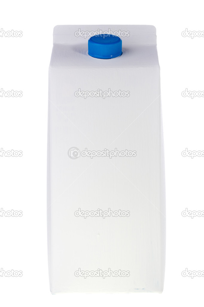 White milk or juice carton box isolated on a white background.  Stok fotoraf #5711517