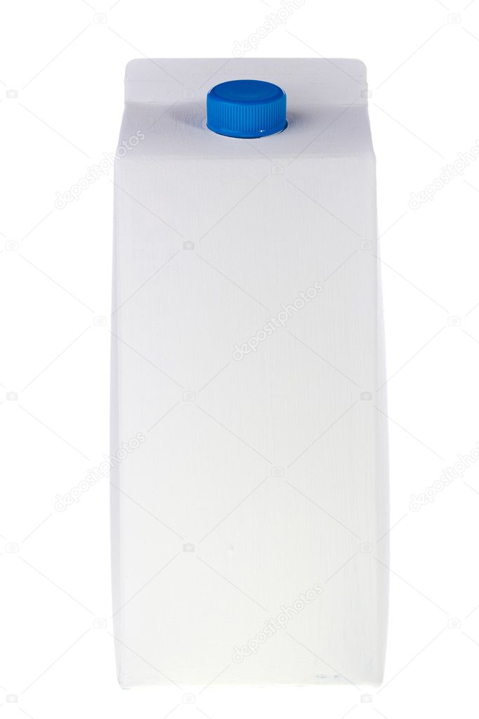 White milk or juice carton box isolated on a white background.  Foto Stock #5711517