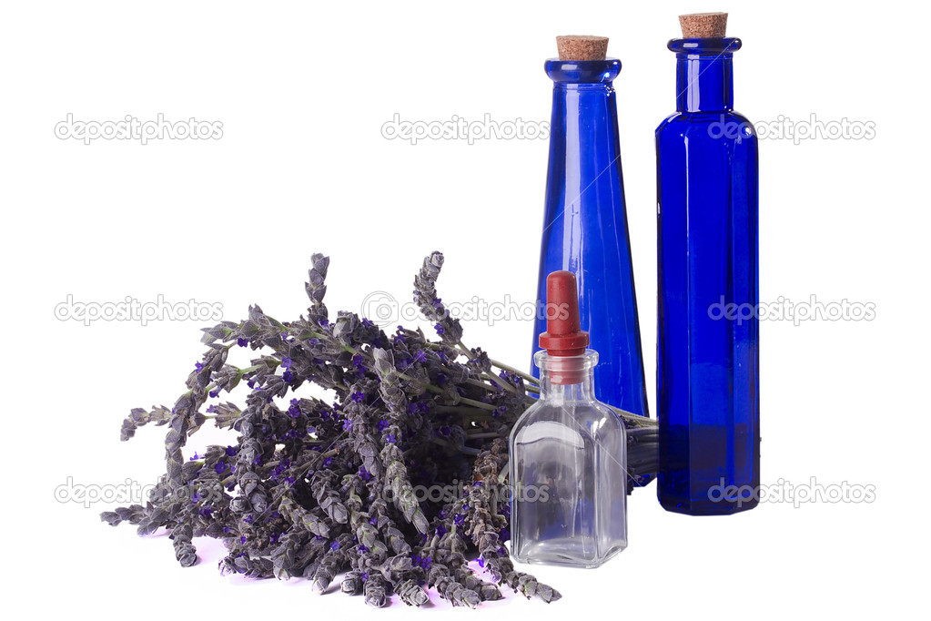 Alternative medicine equipment and lavender on a white background. — Stock Photo #6046021