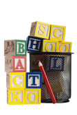Wooden blocks Back to School — Stock Photo