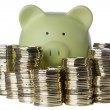 Piggy Bank and Coins — Stock Photo