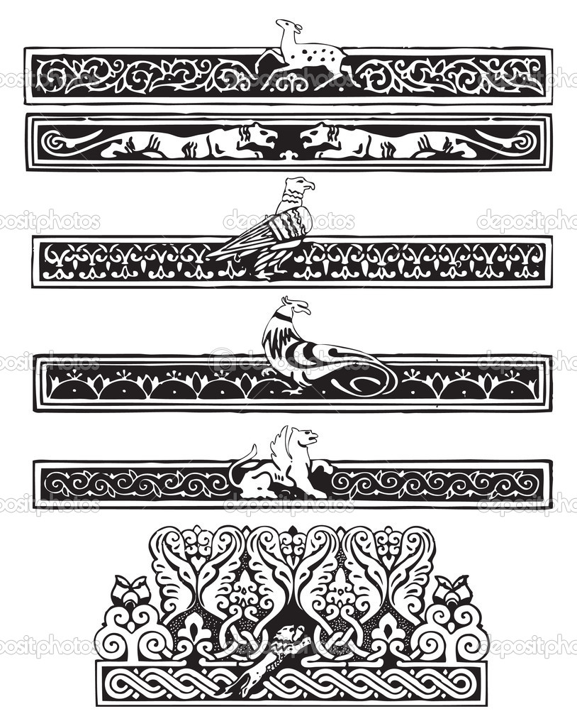 Ornament with birds and animals in the Gothic plot. Vector illustration. — Stock Vector #6662726
