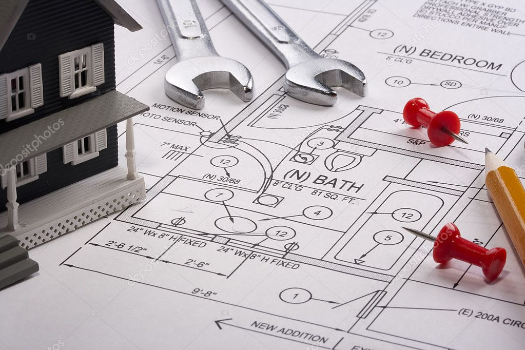 House model and drafting tools on a construction plan. — Stock Photo #6718982