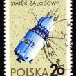 Postage stamp from Poland with first spaceship Vostok — Stock Photo