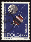 Postage stamp from Poland with soviet spaceship Luna-3 — Stock Photo