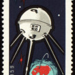 Soviet spaceship Luna-2 on Mongolian post stamp — Foto Stock