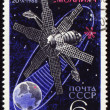 Postage stamp with communication satellite in space — Stock Photo #5449284
