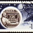 Control center of Lunokhod-1 on post stamp — Stock Photo