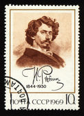 Portrait of russian painter Repine on post stamp — Stock Photo
