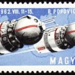 ������, ������: Soviet spaceships Vostok 3 and Vostok 4 on post stamp