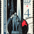 Russian scientist Tsiolkovsky on post stamp - Stock Photo
