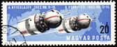 Soviet spaceships Vostok-3 and Vostok-4 on post stamp — Stock Photo