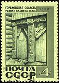 老木检票口与邮政邮票雕刻 — 图库照片