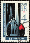 Russian scientist Tsiolkovsky on post stamp — Stockfoto