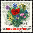Stock Photo: Bouquet of wildflowers on post stamp