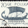 Stock Photo: Greek galley Trier on post stamp