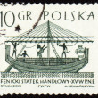 Phoenician merchant ship on post stamp — Stock Photo