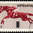 Photo: Horse show jumping on post stamp