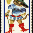 Drawing Puss in Boots on post stamp — Stock Photo