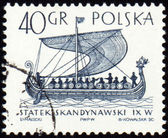 Scandinavian ship on post stamp — Stock Photo