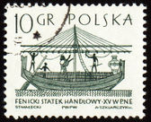 Phoenician merchant ship on post stamp — Stock Photo