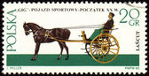 Gig - old carriage on post stamp — Stock Photo
